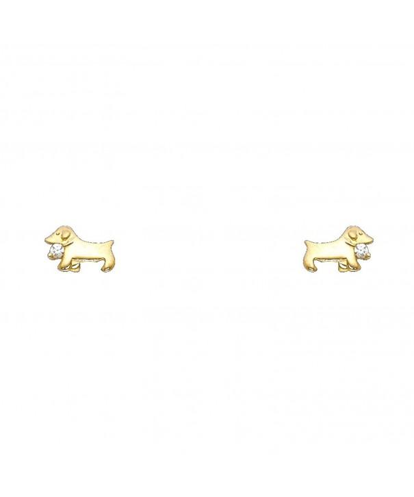 Yellow Gold Stud Earrings Screw
