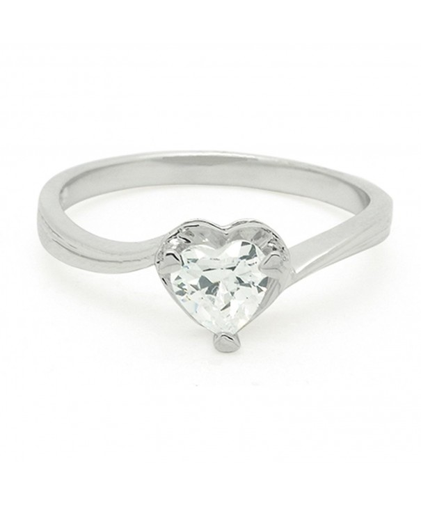 Sterling Silver Heart Stones Ring