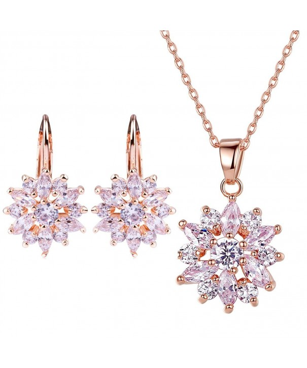 BAMOER Zirconia Snowflake Earrings Rose Gold