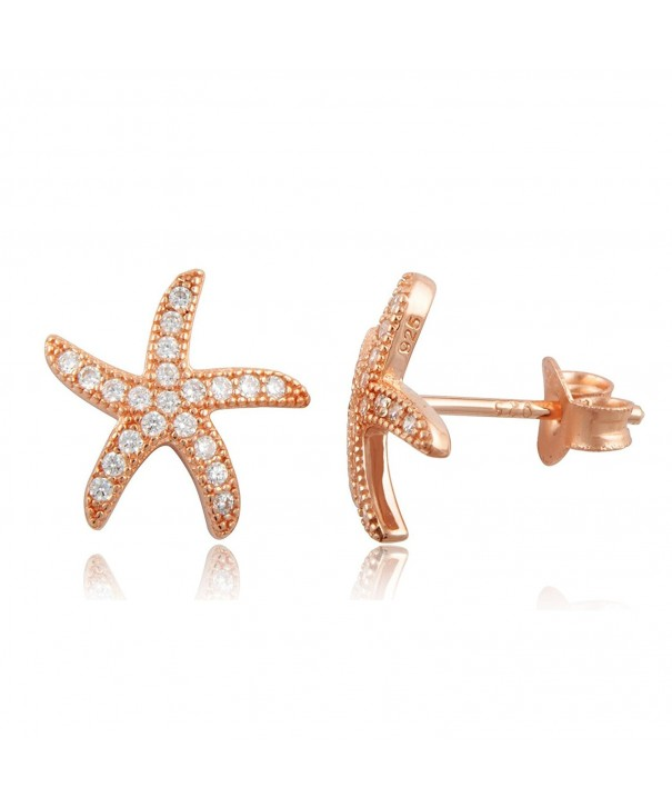 Rose Gold Silver Starfish Earrings