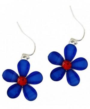 Silver Patriotic Crystal Earrings Allergenic