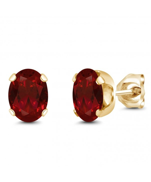 Yellow Plated Garnet Earrings 7X5MM