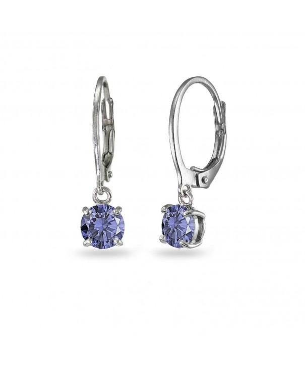 Sterling Simulated Tanzanite Leverback Earrings