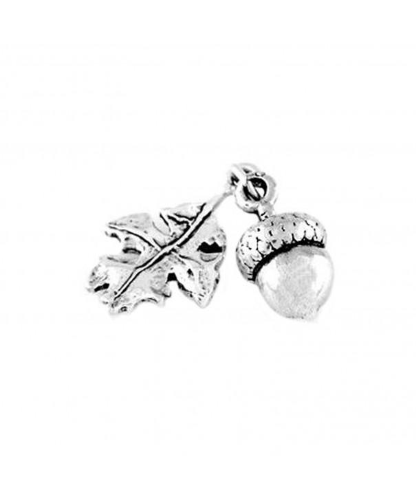Sterling Silver Acorn Leaf Charm