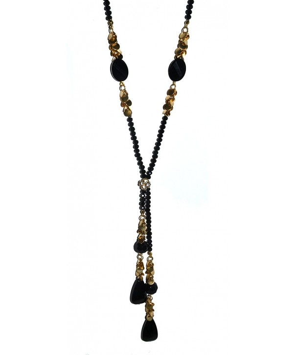 Beaded Rhinestone Necklace Black Color