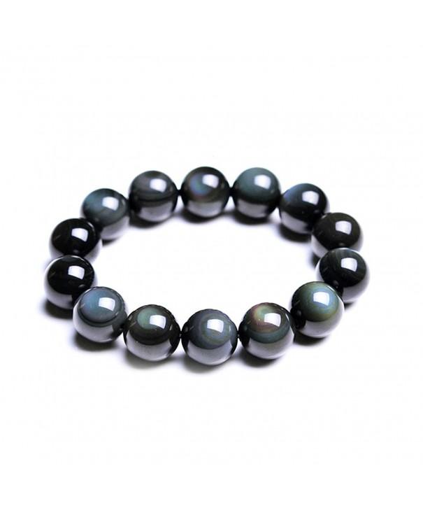 Women Obsidian Rainbow Beads Bracelet