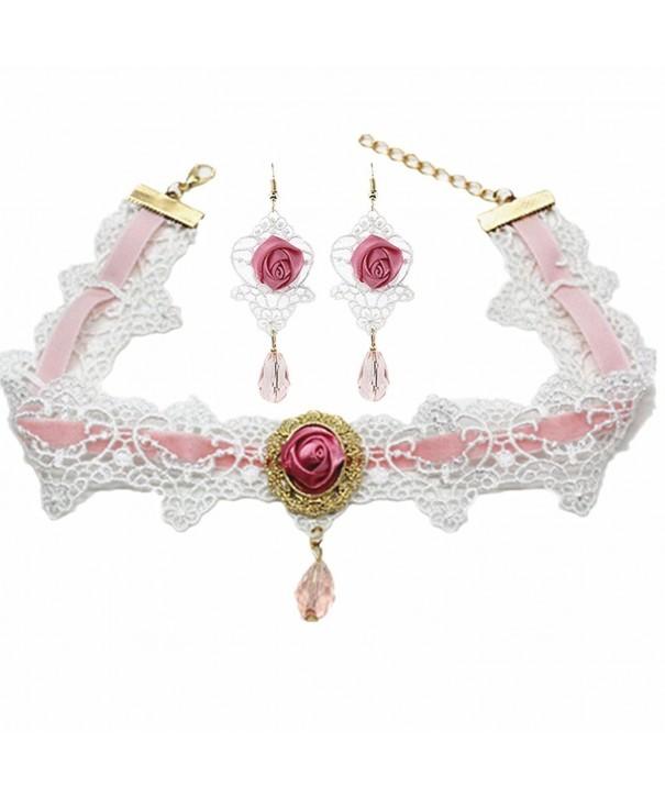 Meiysh Flower Pendant Necklace Earrings