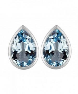 Star Simulated Aquamarine Earrings Sterling