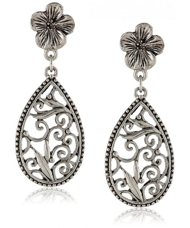 1928 Jewelry Silver Tone Filigree Teardrop