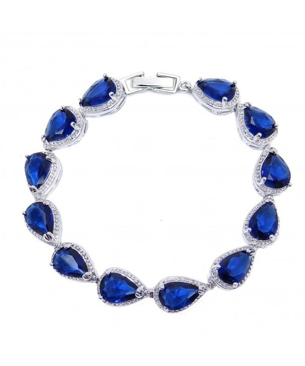 SELOVO Sapphire Teardrop Tennis Bracelet
