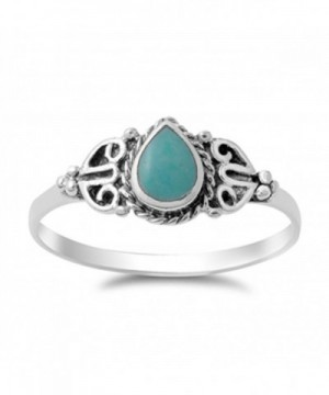 Simulated Turquoise Sterling Silver RNG14145 9