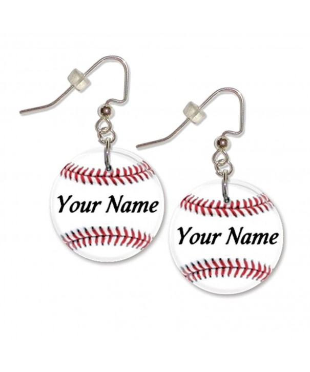 Personalized Baseball Button Dangle Earrings
