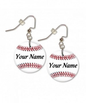 Personalized Baseball Button Dangle Earrings