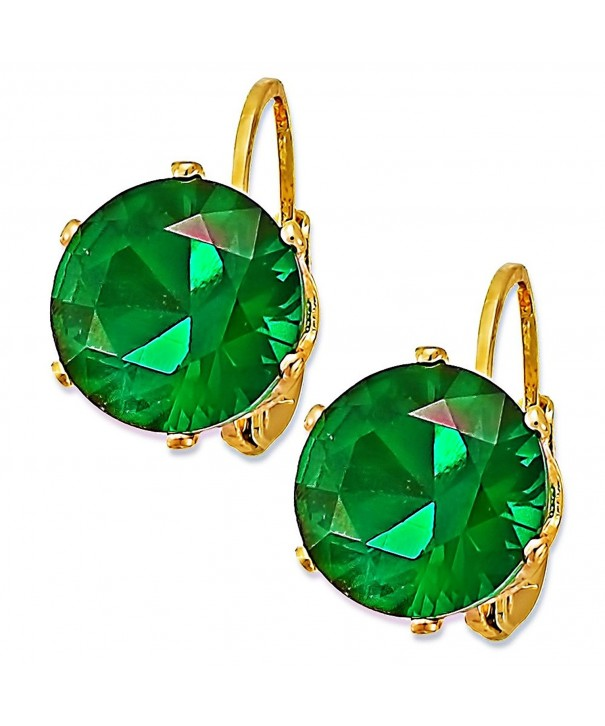 Emerald Yellow Plated Huggies Earrings EM