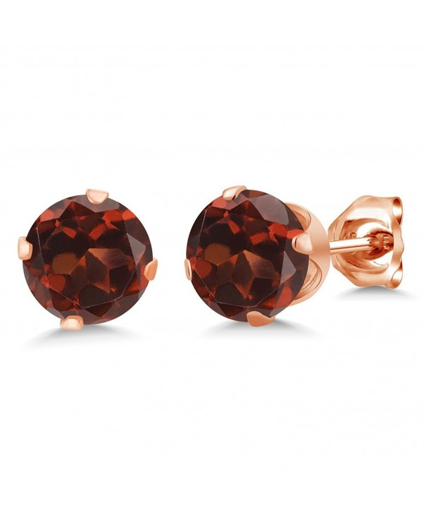 Round Garnet Plated Silver Earrings