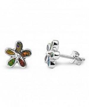 Created Plumeria Flower Sterling Earrings