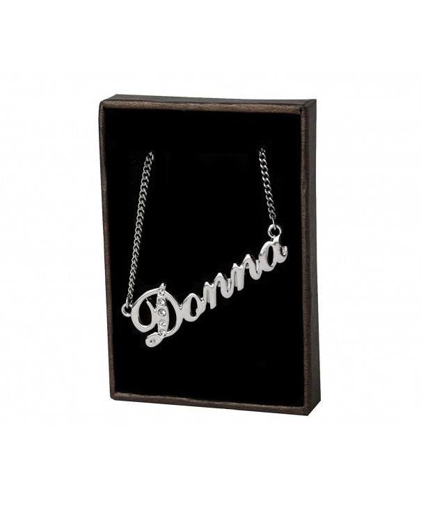 Name Necklace Donna White Plated