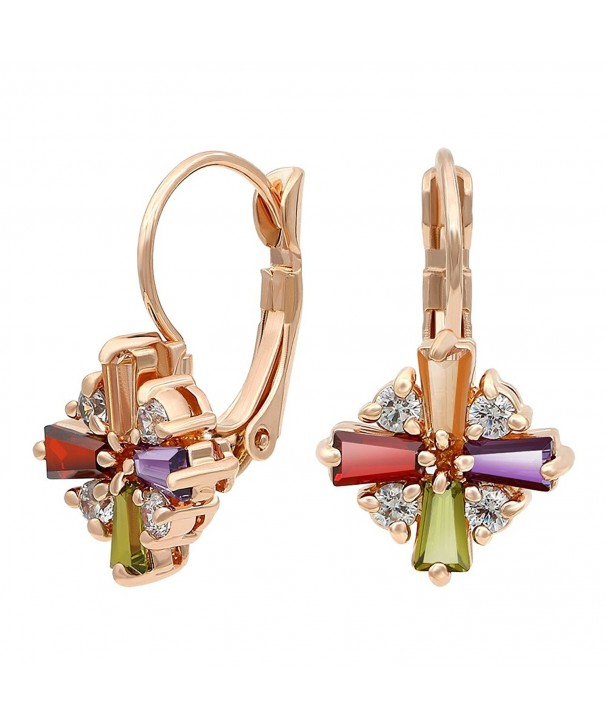Kemstone Colorful Zirconia Leverback Earrings