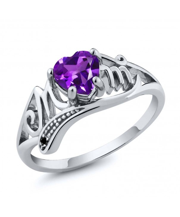Sterling Silver Mothers Amethyst Diamond