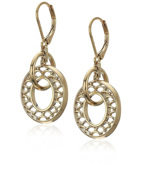 Napier Gold Tone Orbital Drop Earrings