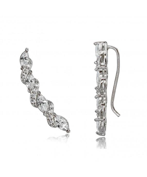 Sterling Zirconia Crawler Climber Earrings