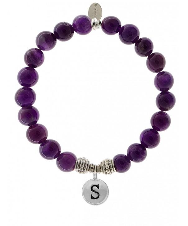 EvaDane Amethyst Gemstone Alphabet Bracelet