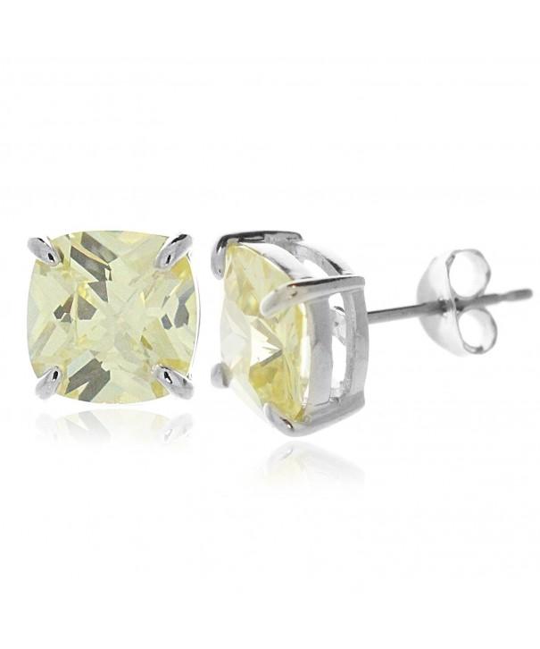 Sterling Silver Zirconia Cushion Earrings