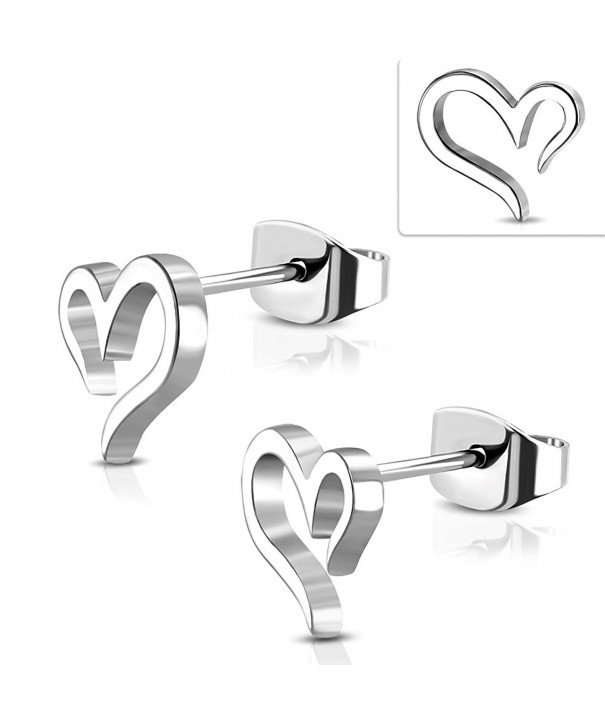 Stainless Steel Spiral Heart Earrings