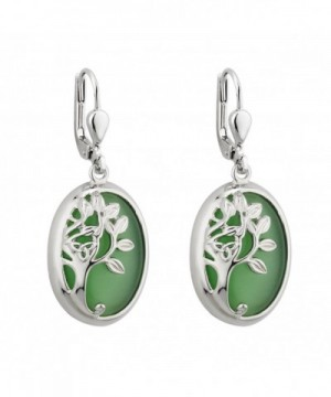 Tree Earrings Rhodium Green Irish